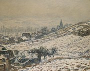 Snowfall Paintings - Winter in Giverny by Claude Monet