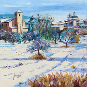 Jean Prints - Winter in Lourmarin Print by Jean-Marc Janiaczyk