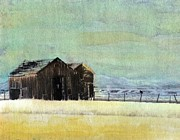 Weathered Mixed Media Originals - Winter in Montana by Desiree Paquette