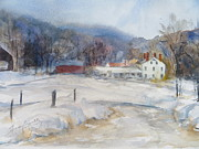 New England Snow Scene Painting Posters - Winter in New England  Poster by Heidi Brantley