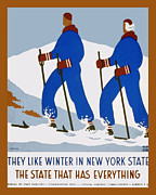 Skiing Poster Framed Prints - Winter In New York State Framed Print by Unknown