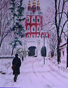 Moscow Paintings - Winter in Novadivichi Monastery by Elaine Wilson