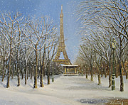 Snowfall Paintings - Winter In Paris by Kiril Stanchev
