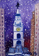 City Hall Painting Framed Prints - Winter In Philly Framed Print by Marita McVeigh