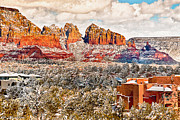Mystical Landscape Mixed Media Posters - Winter in Sedona Arizona 2 Poster by Nadine and Bob Johnston