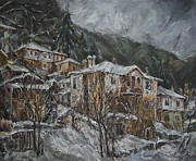 Village Digital Art Originals - Winter in Shiroka Luka by Stefano Popovski