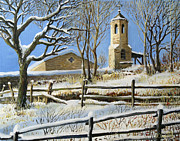 Christian Artwork Painting Prints - Winter in Stoykite Print by Kiril Stanchev
