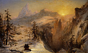 Snow Capped Metal Prints - Winter in Switzerland Metal Print by Jasper Francis Cropsey