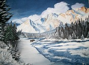 Sharon Duguay Framed Prints - Winter in the Canadian Rockies Framed Print by Sharon Duguay