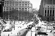 Streets In Winter Framed Prints - Winter in the City 1990s Framed Print by John Rizzuto