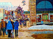Catherine Window Prints - Winter In The City Downtown Montreal Stores Ogilvy Holt Renfrew Winter Street Scene C Spandau Art  Print by Carole Spandau