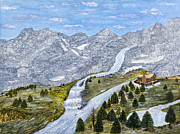 River Cabin Prints - Winter in the Mountains by Kevin Davis Print by Sheldon Kralstein