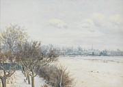 Snowy Trees Prints - Winter in the Ouse Valley Print by William Fraser Garden