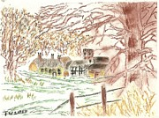 Village Pastels Prints - Winter In The Village Print by Tracey Williams