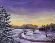 Winter Scenes Rural Scenes Drawings Prints - Winter in Vermont Print by Anastasiya Malakhova
