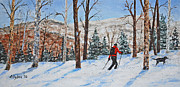 Cross-country Skiing Paintings - Winter In Vermont Woods by Stanton Allaben