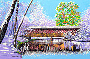 Covered Bridge Mixed Media Prints - Winter into Spring Print by David Linton