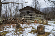 Woodpile Prints - Winter is Coming to the Farm Print by Steve Hurt