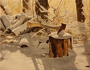 Winter Scene Painting Originals - Winter Labour by Tammy  Taylor