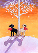 Winter Labradors Print by Naomi Ochiai