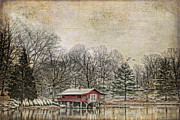 Lake House Metal Prints - Winter Lake Metal Print by Darren Fisher