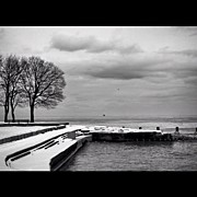 Landscapes Art - Winter Lakefront by Mike Maher