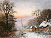 Cottages Framed Prints - Winter landscape Framed Print by Charles Leaver