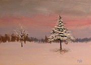 Patrick Paintings - Winter landscape dusk by Patrick ODriscoll