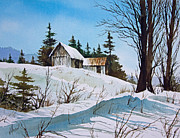 Landscape Greeting Card Painting Originals - Winter Landscape by James Williamson