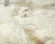 Snow-covered Landscape Painting Posters - Winter Landscape Poster by John Henry Twachtman