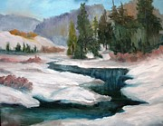 Snowscape Paintings - Winter Landscape by Larry Hamilton