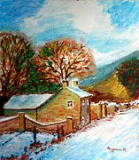 Snowy Trees Paintings - Winter landscape by Mauro Beniamino Muggianu
