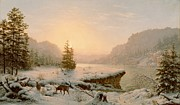 Elk Paintings - Winter Landscape by Mortimer L Smith