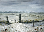 Netherlands Paintings - Winter Landscape Netherlands by Nancy Van den Boom