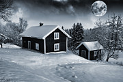 Snow Scape Framed Prints - Winter Landscape Old Cottage And Full Moon Framed Print by Christian Lagereek