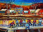 Hockey Rinks Paintings - Winter Landscape Outdoor Hockey Game Canadian Village Scene Hockey Our National Sport Carole Spandau by Carole Spandau