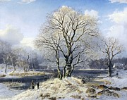 Snow Dog Mixed Media Posters - Winter Landscape Poster by Stefan Kuhn