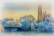 Snowy Landscape Mixed Media Posters - Winter landscape with a bridge over the river Poster by Gynt