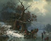 Winter Landscape With Figures On A Frozen River Print by Heinrich Hofer