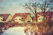 Winter-landscape Mixed Media - Winter landscape with houses by Gynt