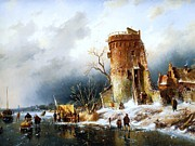Winter Scene Paintings - Winter Landscape with Sun by Pg Reproductions