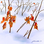 Joan A Hamilton Prints - Winter Leaves Print by Joan A Hamilton