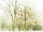 Winter Scene Digital Art Metal Prints - Winter Leaves Metal Print by Julie Palencia