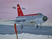 Jets Paintings - Winter Lightning by Jonathan Laverick