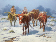 Longhorn Paintings - Winter Longhorns by Randy Follis