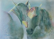 Original Horse Paintings - Winter Lovers by Robert Hooper
