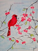 Cardinal In Snow Prints - Winter Magic Print by Sonali Gangane