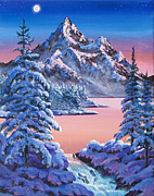 Snow Scene Framed Prints - Winter Moon Framed Print by  David Lloyd Glover