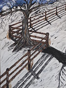 Board Fence Prints - Winter Moon Shadow Print by Jeffrey Koss