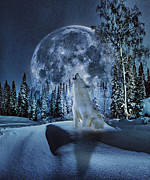 Wolf Moon Posters - Winter Moon Song Poster by Yury Malkov